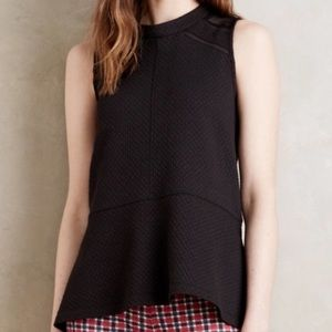 Anthropologie Deletta Black Peplum Mesh Blouse L